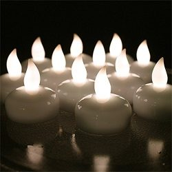 12 PCS Waterproof Tea Lights, AGPtek Battery Operated Flameless Floating Candles for Wedding Par ...