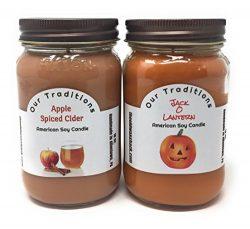 Fall Candles, Jack – O – Lantern & Apple Spiced Cider (2 Pack, 16 Oz.)