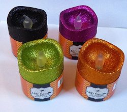 Set of 4 Halloween LED Flickering Spooky Candles 3″ x 2.75″ – 4 Assorted Colors