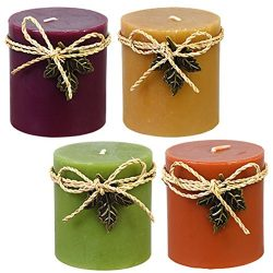 Luminessence Assorted Scented Pillar Candles – 4 Per Pack – Long Lasting and Inexpen ...