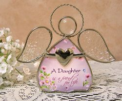 Daughter gifts – Glass Angel Tea Light Candle Holder – A Daughter is a Friend for Li ...
