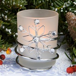 Two (2) Frosted Glass SNOWFLAKE Design VOTIVE Candle Holders with RHINESTONE Accents Tealights G ...
