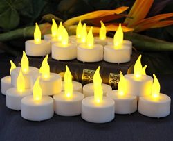 Flameless Tea Light Candles by LED Lytes, 24 Amber Yellow Flickering Faux Tealights, Battery Ope ...