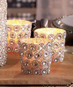 VOTIVE Candle Holder (set of 6) Holiday Season Christmas Decor Classic Silver Gems Decor Brand New