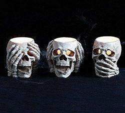 Burton and Burton Halloween Decoration See No, Hear No, Speak No Evil Skull Candle Holder Set of 3