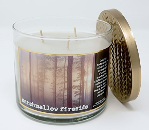 Bath & Body Works Home Marshmallow Fireside Scented 3 Wick 14.5 Ounce Candle Limited Edition ...