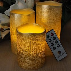 RUSTIC GOLD FLAMELESS Candles with Timer Remote Control, Unscented Flickering Battery Operated E ...