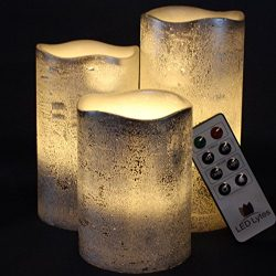RUSTIC SILVER FLAMELESS Candles with auto-off Timer Remote Control, Unscented Flickering Battery ...