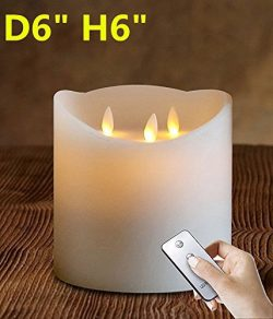"6″X6"" Huge 3-Wicks Remote Moving Flameless Candle Ivroy 1pcs"