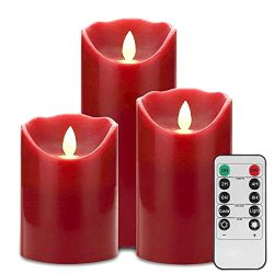 LED Flameless Candle Lights-Glamouric Flickering Real Wax Candle Light,10 Key Remote Control wit ...