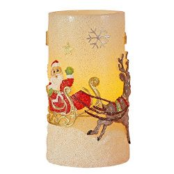 Christmas Santa Claus Flameless LED Candle with Timer, Battery Operated Candles for Christmas De ...