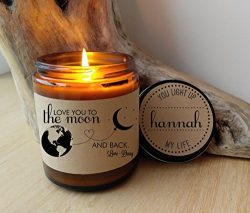 Love You To The Moon And Back Personalized Candle Gift for Mom Mothers Day Gift For Wife Valenti ...