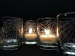 Engraved 'Webs' Clear Glass Votive Candle Holders Set of 4 Halloween Party Favors Un ...