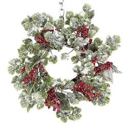 12 Inch Snow Sparkled Christmas Ivy Candle Ring with Berries