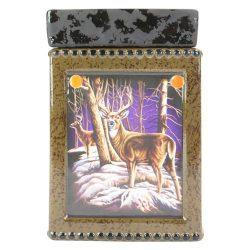 Tall Ceramic Winter Deer Scene Electric Candle Warmer
