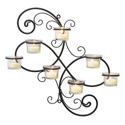 Stonebriar Transitional Scrolled Ivy Tea Light Candle Holder Hanging Wall Sconce, Modern Home De ...