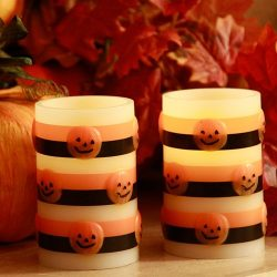 Halloween Flameless Pumpkin Candle Set of Two Battery Operated Candles