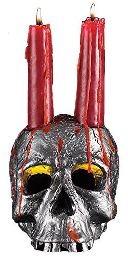 Spooky Halloween Skull Candle Set – Includes Blood-Red Drip Candles – Scary Hallowee ...