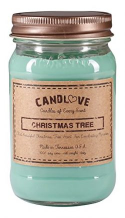 """Candlove """"Christmas Tree"""" Scented 16oz Mason Jar Candle 100% Soy Made In The USA"""