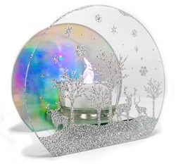 Winter Scene Candle Holder – 3 Deer in a Forest with Snow Falling in Silver Glitter – ...