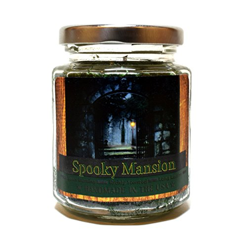 Spooky Mansion Wood Wick Candle, 8 oz Super Scented Natural Wax Candle, Halloween Candle