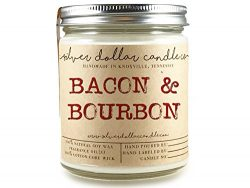 8oz Bacon & Bourbon Man Candle Hand poured 100% Soy Wax Scented Candle by Silver Dollar Cand ...