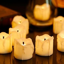 Zabicat 24pcs Electric Flameless Candles Battery Operated,White Flickering Tea Lights Christmas  ...