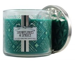 Bath & Body Works Home Snowflakes & Spruce Scented Candle 3 Wick 14.5 Oz Limited Edition ...