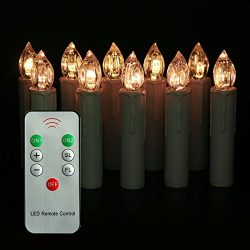 Youngerbaby Set of 10 Warm White LED Taper Candles Lights with Remote Control, Brightly Flameles ...