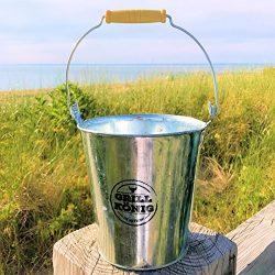 The Garden Citronella Candle Bucket, Wooden Top Handle, Galvanized Metal, German Design, 3% Citr ...