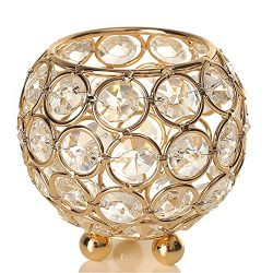 VINCIGANT Gold Crystal Candle Holders for Home Decor Candle Lantern Wedding Party Centerpiece