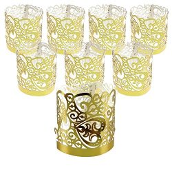 Gold Flameless Votive Wraps Candle Holders Paper Decorative Of Laser Cut For Wedding Outdoor LED ...