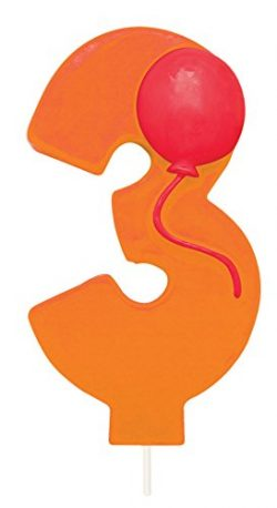 Creative Converting Molded Numeral with Balloon Birthday Cake Candle, 3, Orange