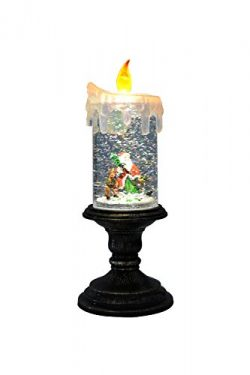 Eldnacele Battery Operated Christmas Lighted Candle with Candle Holder Snowman Water Snow Glitte ...