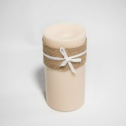6″ by 3″ Vanilla Scented, Cream Colored Soy Large Pillar Candle, 24 oz.