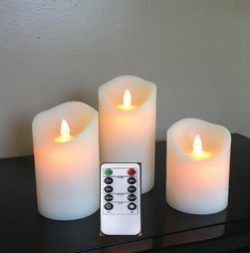 3 Sets (3″Dx4″ 5″ 6″H) Flameless Moving Wick LED Candles with Timer and  ...