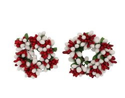 Set of 2 (Two) 3-inch Beaded Berry Wreath Candlering Candle Napkin Ring Christmas Red White