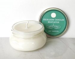 Christmas Pine Scented Soy Candle Handmade, Mistletoe Candle – 3.3oz