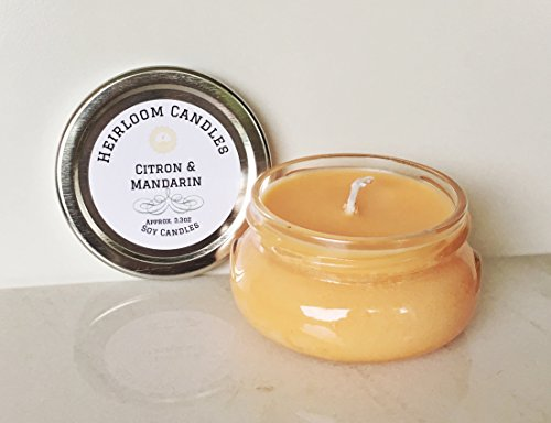 Orange Citrus Soy Candle Glass Jar – Handmade Citron & Mandarin, 3.3oz