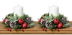 Set of 2 Christmas Artificial Pine Candle Rings With Apples, Berries, Pine Cones and Holly