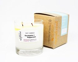 Eucalyptus Peppermint Natural Soy Candle in Whisky Glass Jar and Copper Stamped Box