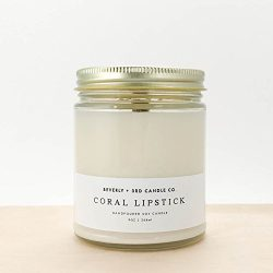 Beverly and 3rd Candle Co CORAL LIPSTICK Candle, Floral Candle, Rose Candle, Jasmine Candle, Fru ...