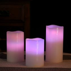 Flameless Candles, Led Votive Pillar Candles with Remote Timer,Battery Operated Powered, Electri ...