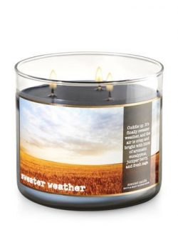 Bath & Body Works Home Sweater Weather Scented 3 Wick 14.5 Ounce Candle Limited Edition 2017 ...