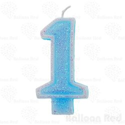Numerals Birthday Party Cake Candle & Happy Birthday Cake Topper, Glitter Blue, Number ̶ ...