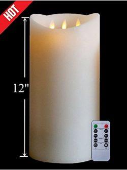 12'Huge 3-Wicks Flameless with Timer, Battery Operated Candle W/R, Ivory