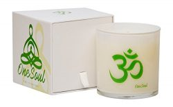 White Tea Thyme Aromatherapy Luxury Candle   OM Spiritual Natural Soy Wax Hand Poured Highly Sce ...