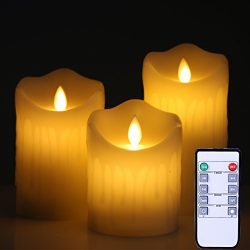 Flameless Candles LED Flickering Light Pillar Real Drip Pillar Wax for Wedding and Decoration Se ...