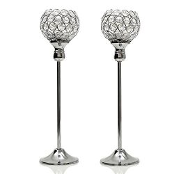 VINCIGANT Tall Crystal Candle Holders for Table Centerpieces Set of 2 (Silver)
