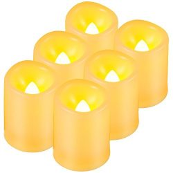 Real Wax Flameless Candle, Megadream Flickering Divine Decoration Unscented and Ivory Votive Sty ...
